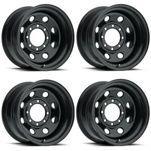 Set 4 16 Vision 85 Soft 8 Gloss Black Steel Wheels 16x8 5x5 12mm Jeep 5 Lug