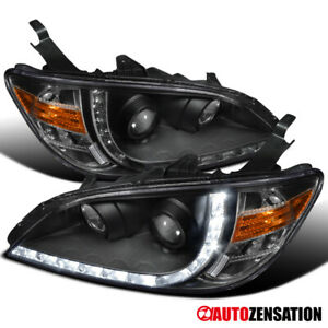For 2004 2005 Honda Civic 2 4dr R8 Led Drl Black Projector Headlights Pair