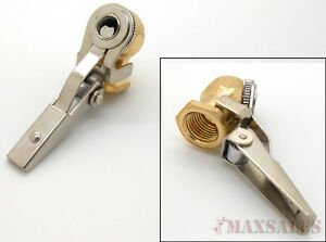2 Ball Tire Inflator Air Chuck Clip Type Right Angle Automotive Brass 1 4 Npt