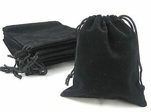 10 X New Black Velvet Drawstring Jewellery Packaging Bags Gift Pouches 7 X 9 Cm