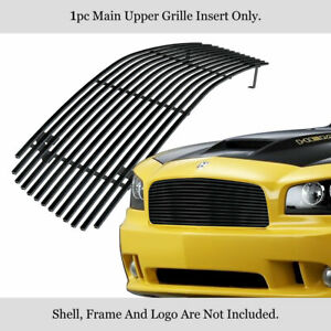 Fits 2005 2010 Dodge Charger Main Upper Stainless Black Billet Grille Insert Fits 2010 Dodge Charger