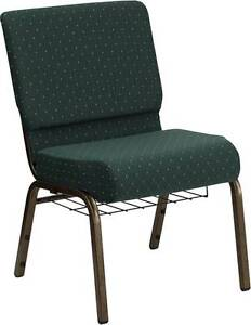 Lot Of 50 21 w Green Pattern Fabric Stacking Church Chairs Cup rack Gold Frame