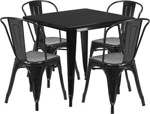 31 5 Square Black Metal Restaurant Table Set With 4 Stack Chairs