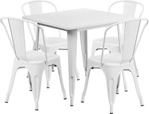 31 5 Square White Metal Restaurant Table Set With 4 Stack Chairs