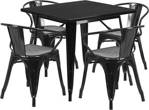 31 5 Square Black Metal Restaurant Table Set With 4 Arm Chairs