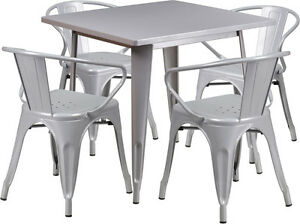 31 5 Square Silver Metal Restaurant Table Set With 4 Arm Chairs