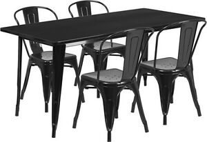 31 5 X 63 Rectangular Black Metal Restaurant Table Set With 4 Stack Chairs