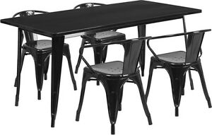31 5 X 63 Rectangular Black Metal Restaurant Table Set With 4 Arm Chairs