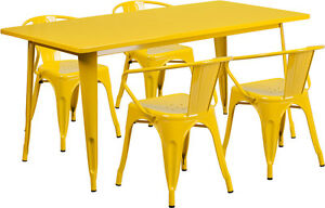 31 5 X 63 Rectangular Yellow Metal Restaurant Table Set With 4 Arm Chairs