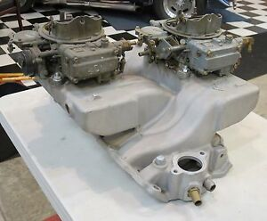 396 427 Bb Chev Edelbrock X C96 Vintage Racing Cross Ram With 2 Holley Carbs