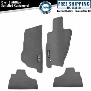 Oem Carpeted Floor Mats Embroidered Jeep Logo Slate Grey For 05 07 Jeep Liberty
