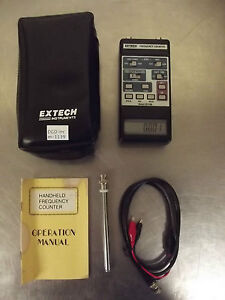 Extech Model 381200 Freq Counter W probes In Case powers Up nice Condition m1139