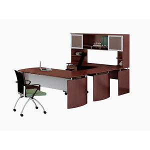 Laminate Executive 63 Desk U shaped Package Left Mahogany Finish