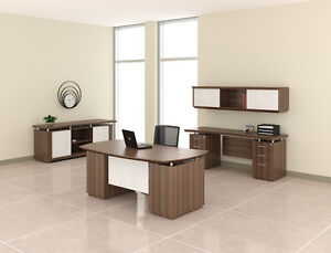 Mayline Sterling Series Textured Brown Sugar Finished Executive Desk Set