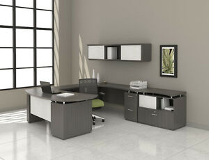 Mayline Sterling U Desk Layout With Textured Driftwood Finish