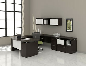 Mayline Sterling U Desk And Hutch Set With Textured Mocha Finish