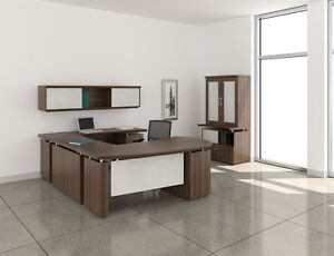 Mayline Sterling Brown Sugar U Desk With Hutch And Wall Cabinet