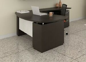 Mayline Sterling Series Textured Mocha Executive Desk Stl7tdc