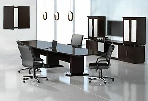 Mayline Boat Shaped Sterling Conference Table With Mocha Finish Stc12