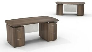 Mayline Sterling Sted72f Bow Front Desk With File File Pedestals
