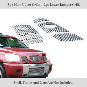304 Stainless Steel Billet Grille Combo Fits 2004 2007 Nissan Titan armada