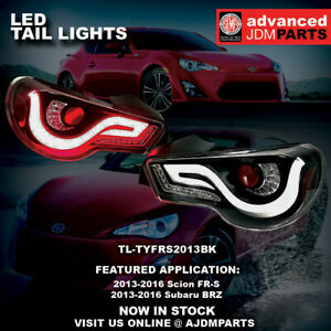 For 13 2018 Fr S Brz Replacement Brake Streak Signal Led Tail Lights Lamps Black
