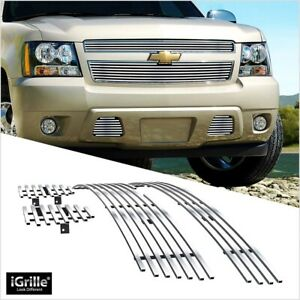 For 2007 2014 Chevy Suburban Avalanche 304 Stainless Steel Billet Grille Combo