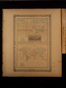 1855 1st Colton Atlas Color Map World Meteorology Plants Statistics 14x17in