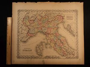 1855 1st Colton Atlas Color Map Northern Italy Milan Tuscany Lombardy 14x17in