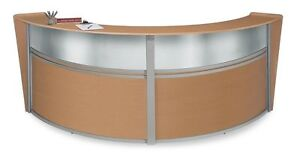 Double Unit Reception Desk In Maple Finish W Plexi Glass And 2 Sets Of Drawers