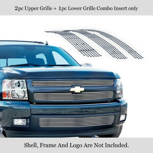 Fits 2007 2013 Chevy Silverado 1500 Upper Lower Stainless Billet Grille Combo