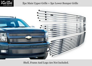 Fits 2007 2013 Chevy Silverado 1500 304 Stainless Steel Billet Grille Combo