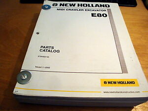 New Holland E80 Midi Crawler Excavator Parts Catalog List Book Manual Nh