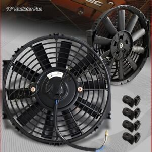1 X 16 Black Electric Slim Push Pull Engine Bay Cooling Radiator Fan Universal