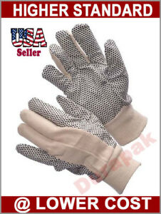 300 Pairs Cotton Canvas Work Gloves W Pvc Dots Men Size Indoor Outdoor Field