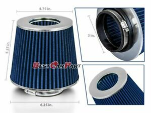 Blue 3 76mm Inlet Cold Air Intake Cone Replacement Quality Dry Air Filter
