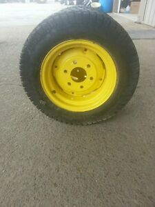 Two 25 8 50x14 Carlisle John Deere 4 Ply Turf Tires On John Deere 6 Hole Wheels