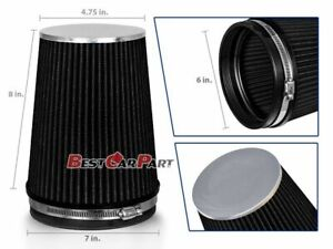 Black 6 152mm Inlet Truck Air Intake Cone Replacement Quality Dry Air Filter