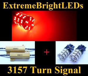 Two Red 3156 3157 60 smd Led Turn Signal Lights 2 Load Resistors