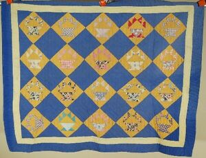 Nicely Quilted Vintage 30 S Cactus Pot Basket Antique Crib Quilt Nice Blue