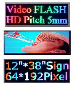 38 x 12 Full Color Video P5 Hd Led Sign Programmable Scrolling Message Display