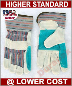 12 Pairs Split Leather Finger Reinforced Palm Strong Working Gloves L Or Xl