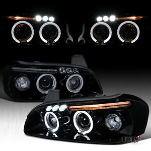 Black Smoke 2000 2001 For Nissan Maxima Led Dual Halo Projector Headlights