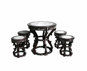 Rosewod Mother Pearl Inlay Marble Round Table Set S2409