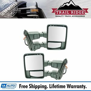 Trail Ridge Towing Mirror Power Folding Extend Heat Signal Chrome Pair For Ford