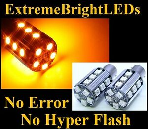 Two Amber No Resistor Required 1157 2357 20 smd Led Front Turn Signal Lights