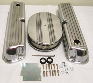 Ford 302 351w Windsor Retro Finned Aluminum Valve Covers W 12 Air Cleaner Kit