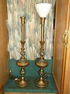 Hollywood Regency Pair Of 40 Inch Rembrandt Lamps