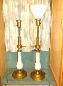 Hollywood Regency Pair Of 34 Inch White Opaline Brass Stiffel Lamps