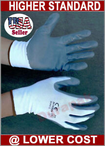 48 Pairs White Nylon Work Gloves W Gray Nitrile Palm Finger Coating S M L Xl